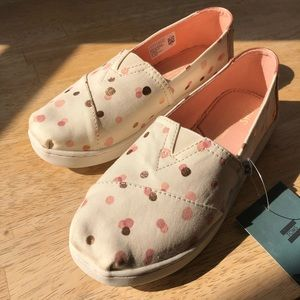 Tom's Rose Gold Polka Dot Shoes *new in box*